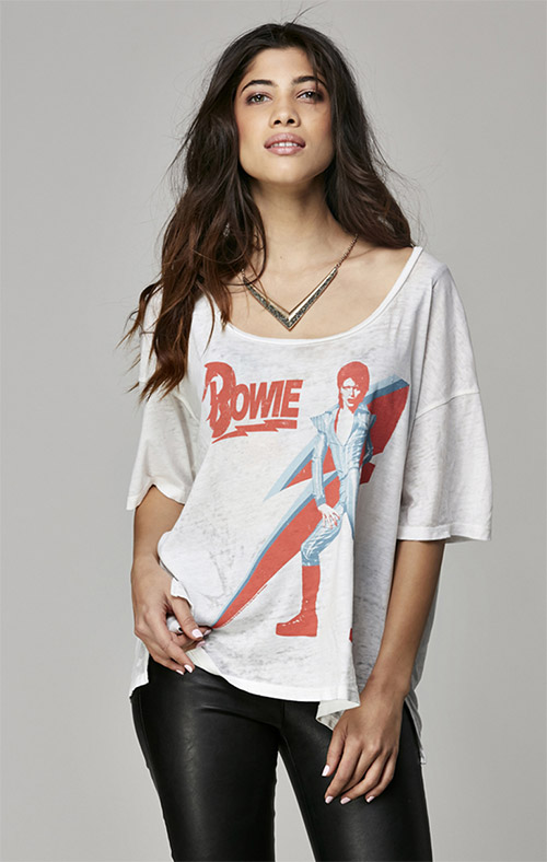 David Bowie Women's short sleeve Hi-Lo Tee