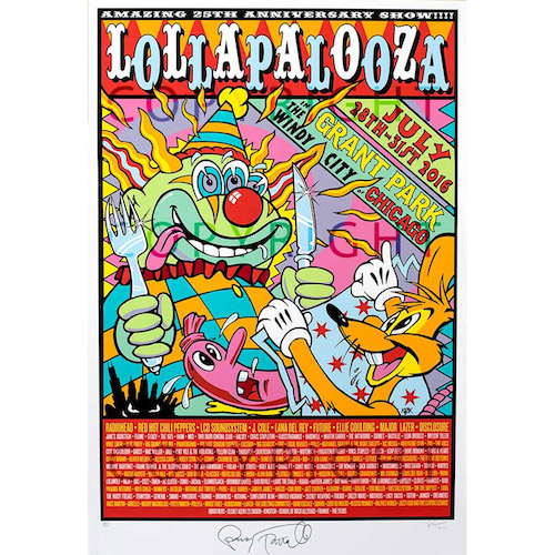 2016 Lollapalooza Poster Signed & Numbered Edition