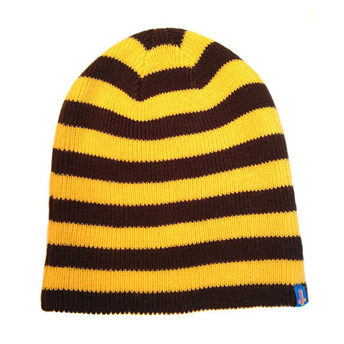 SYD FEEL GOOD STRIPED BEANIE YELLOW/BROWN