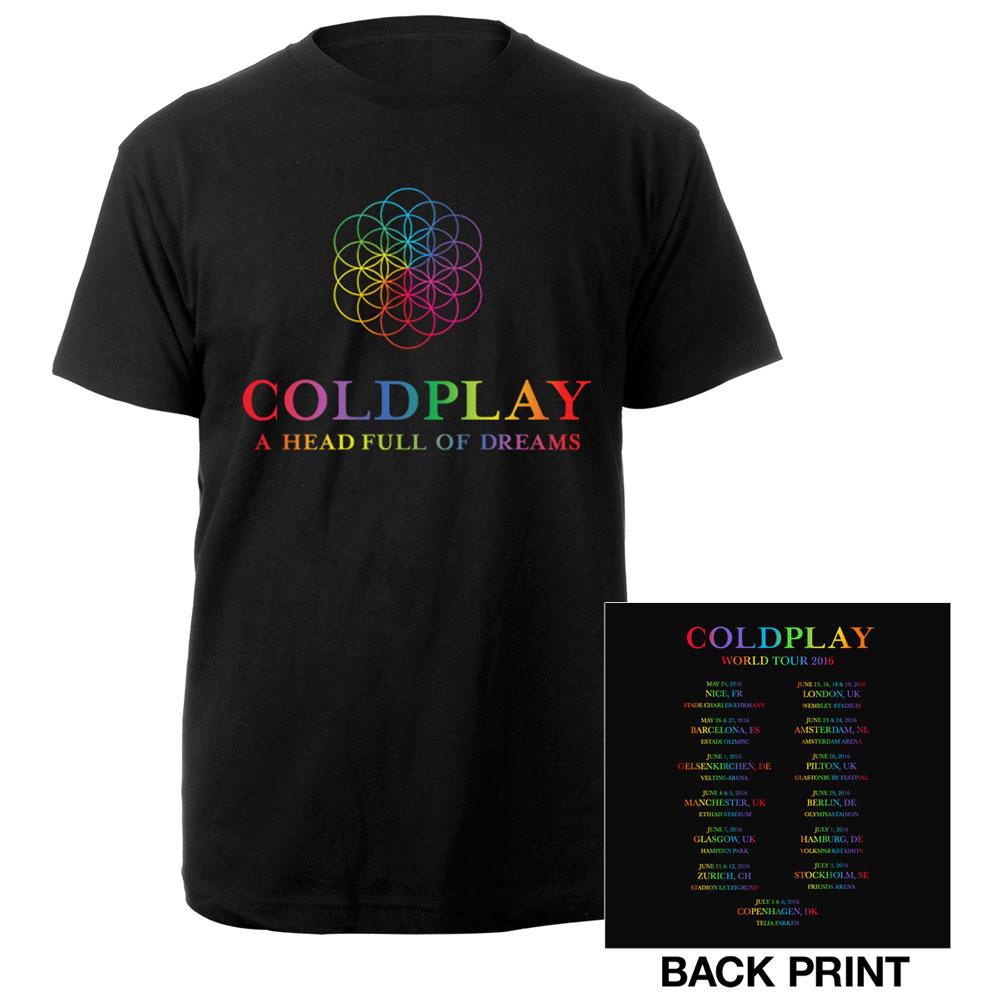 Design t shirt europe - Coldplay A Head Full Of Dreams Europe 2016 Tour T Shirt