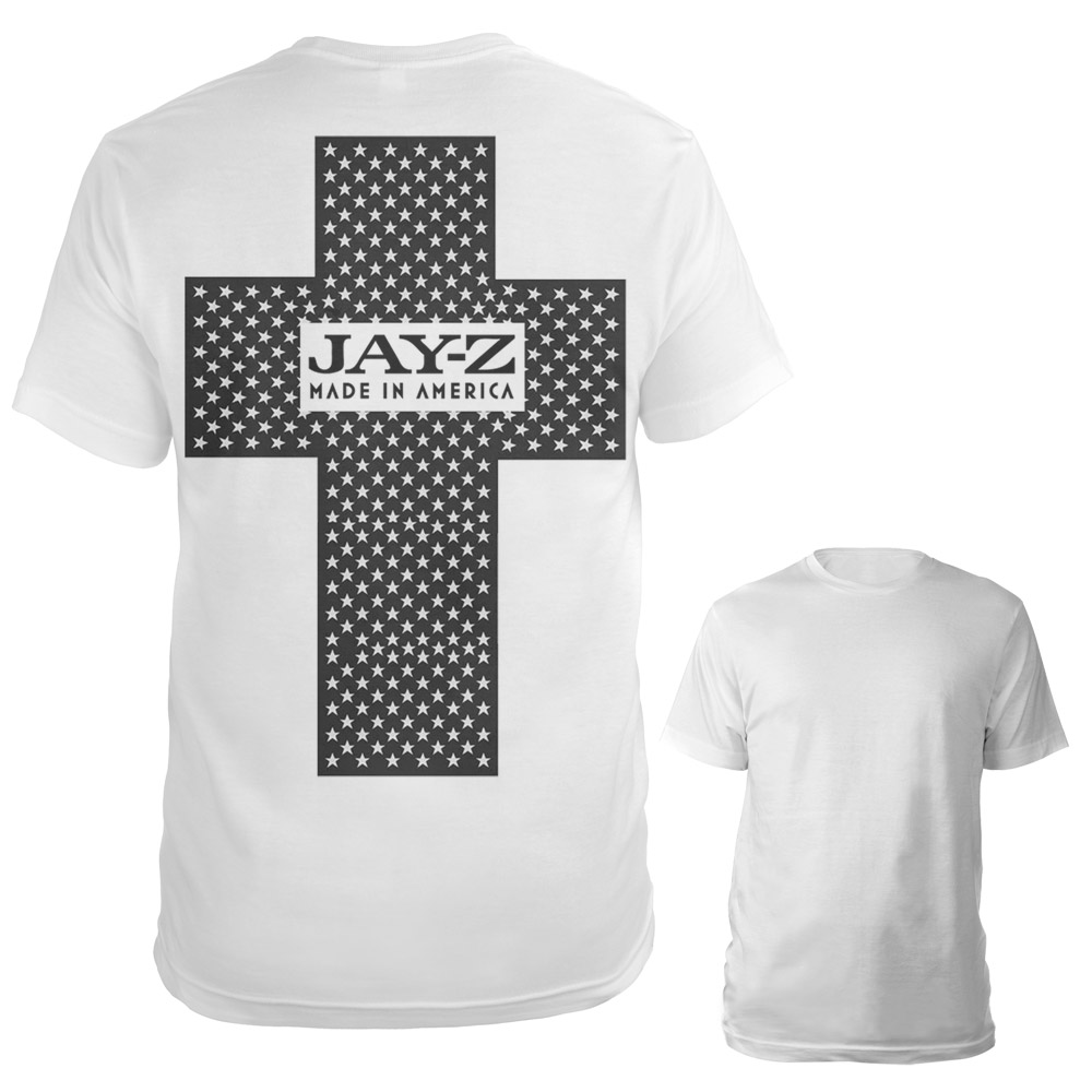 Jay z black t shirt white cross - Jayz Made In America Cross Shirt